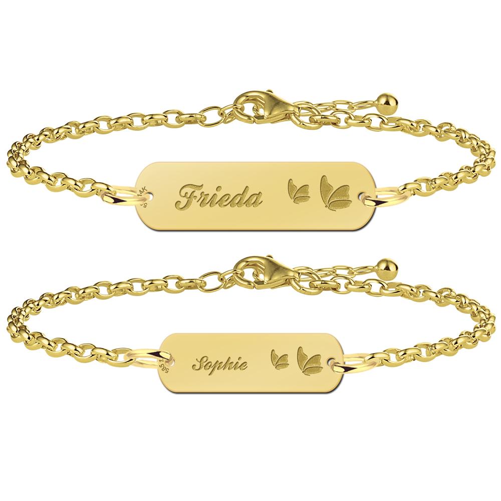 Wonderbaar Gouden moeder-dochter-armband bar naam en vlinders YO-66