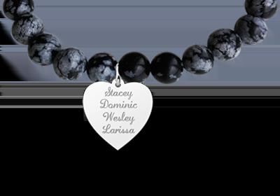 Armband halfedelsteen Obsidian Snowflake met zilveren hart hanger